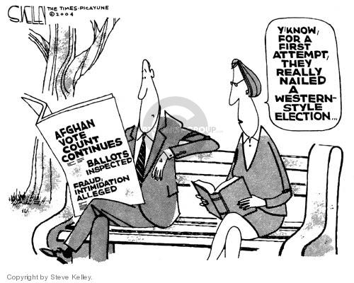 Steve Kelley  Steve Kelley's Editorial Cartoons 2004-10-19 voter intimidation