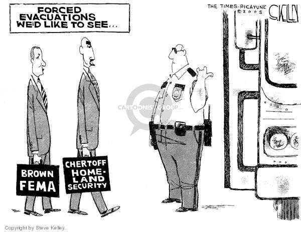 Cartoonist Steve Kelley  Steve Kelley's Editorial Cartoons 2005-09-09 Michael Chertoff
