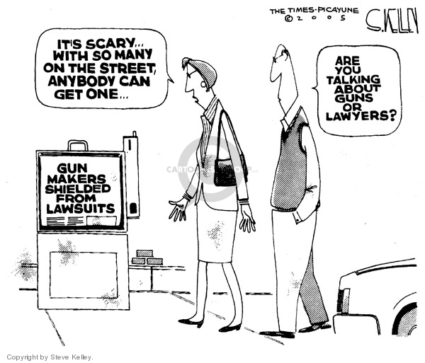 Cartoonist Steve Kelley  Steve Kelley's Editorial Cartoons 2005-10-21 gun rights