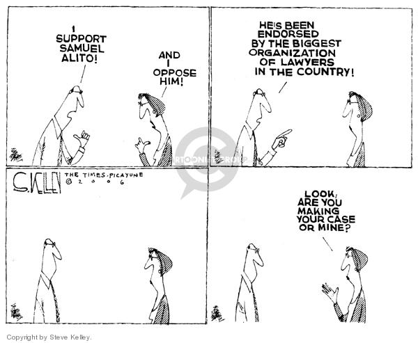 Steve Kelley  Steve Kelley's Editorial Cartoons 2006-01-06 Samuel Alito
