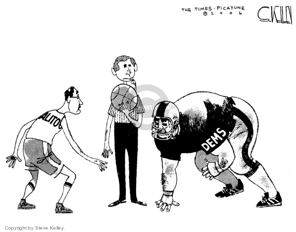 No caption.  (Alito prepares for a basketball tip off against the Democrats who are crouched in a football stance.  President Bush is between the two as a basketball referee.)