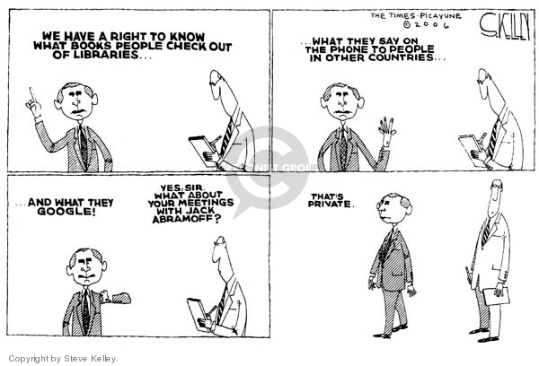 Cartoonist Steve Kelley  Steve Kelley's Editorial Cartoons 2006-01-31 executive privilege