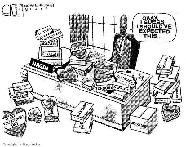 Steve Kelley  Steve Kelley's Editorial Cartoons 2006-02-14 chocolate box