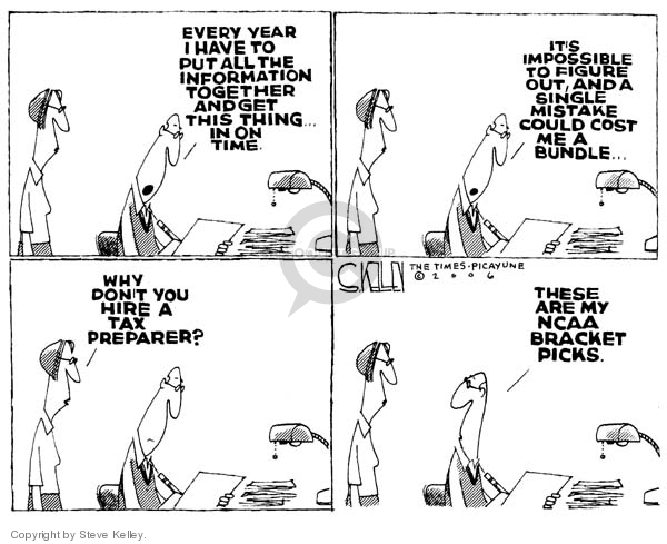 Cartoonist Steve Kelley  Steve Kelley's Editorial Cartoons 2006-03-15 tax preparer