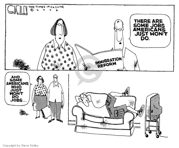 Cartoonist Steve Kelley  Steve Kelley's Editorial Cartoons 2006-03-29 unemployment