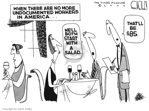 Cartoonist Steve Kelley  Steve Kelley's Editorial Cartoons 2006-03-31 illegal