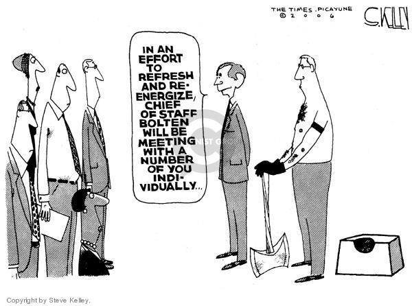 Cartoonist Steve Kelley  Steve Kelley's Editorial Cartoons 2006-04-20 Joshua Bolten