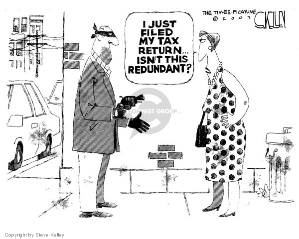 Steve Kelley  Steve Kelley's Editorial Cartoons 2007-04-17 tax form