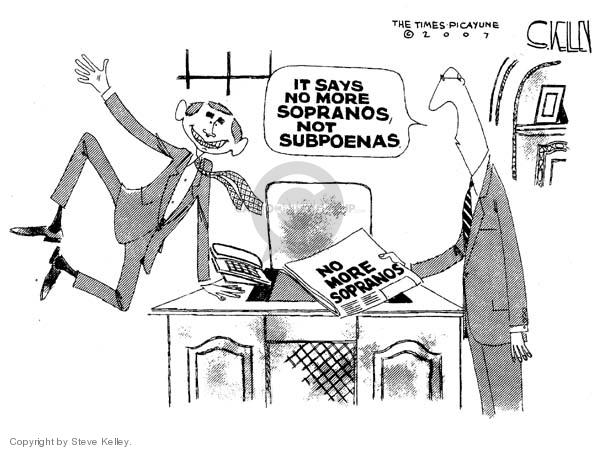Cartoonist Steve Kelley  Steve Kelley's Editorial Cartoons 2007-06-12 congressional oversight