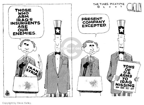 Cartoonist Steve Kelley  Steve Kelley's Editorial Cartoons 2007-08-07 arms
