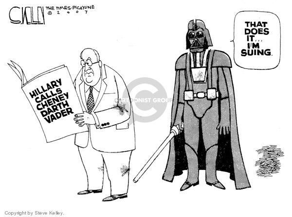 Cartoonist Steve Kelley  Steve Kelley's Editorial Cartoons 2007-09-21 Dick Cheney