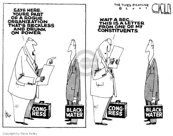 Cartoonist Steve Kelley  Steve Kelley's Editorial Cartoons 2007-10-05 congressional oversight