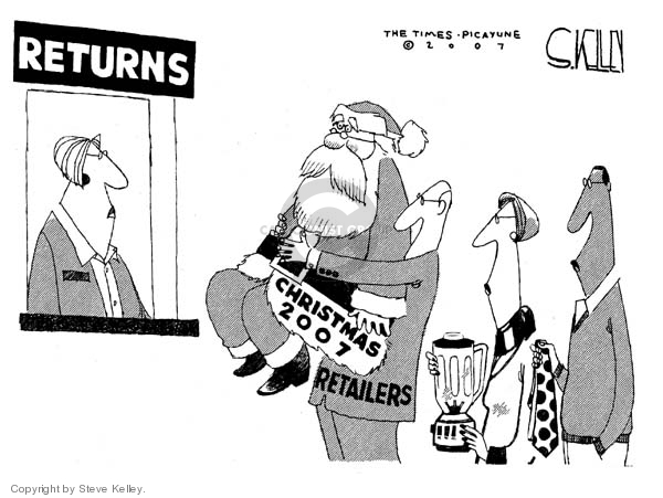Cartoonist Steve Kelley  Steve Kelley's Editorial Cartoons 2007-12-27 claus