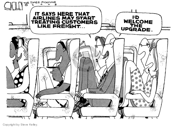 Steve Kelley  Steve Kelley's Editorial Cartoons 2008-06-04 airplane travel
