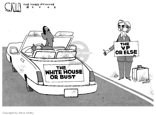 Cartoonist Steve Kelley  Steve Kelley's Editorial Cartoons 2008-06-05 veep