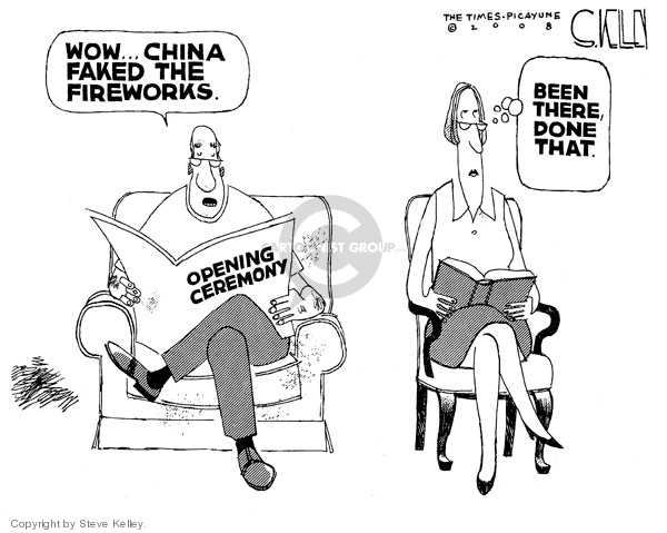 Steve Kelley  Steve Kelley's Editorial Cartoons 2008-08-15 2008 Olympics