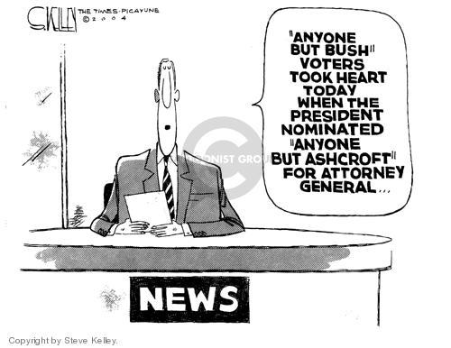 Cartoonist Steve Kelley  Steve Kelley's Editorial Cartoons 2004-11-12 2004 election