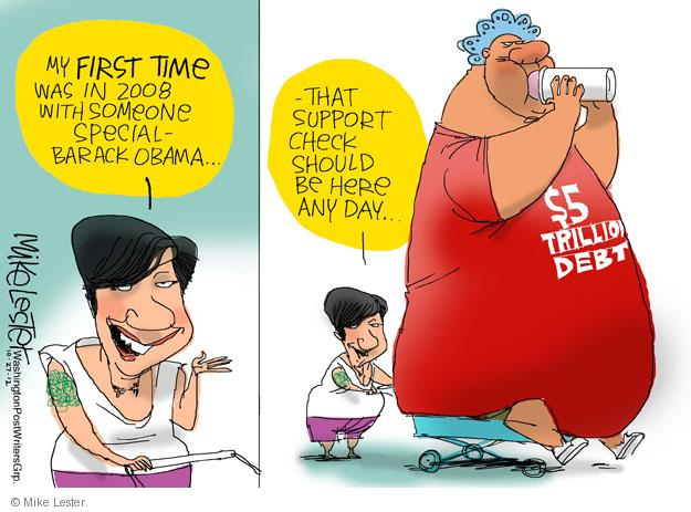 Cartoonist Mike Lester  Mike Lester's Editorial Cartoons 2012-10-27 Barack Obama debt