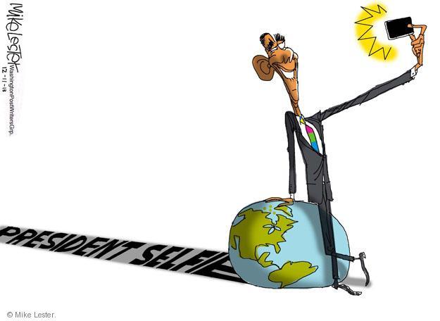 Cartoonist Mike Lester  Mike Lester's Editorial Cartoons 2013-12-11 Barack Obama selfie