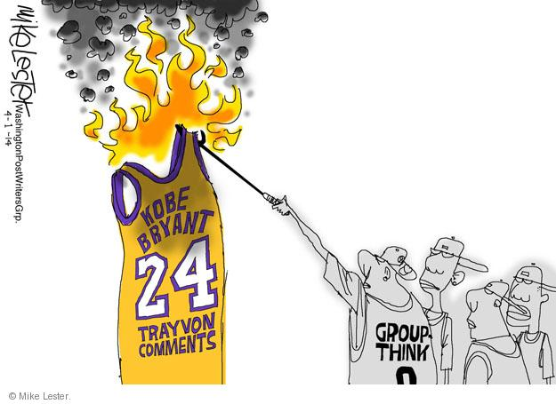 Cartoonist Mike Lester  Mike Lester's Editorial Cartoons 2014-04-01 Kobe Bryant