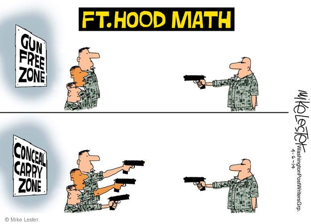 Cartoonist Mike Lester  Mike Lester's Editorial Cartoons 2014-04-06 gun rights