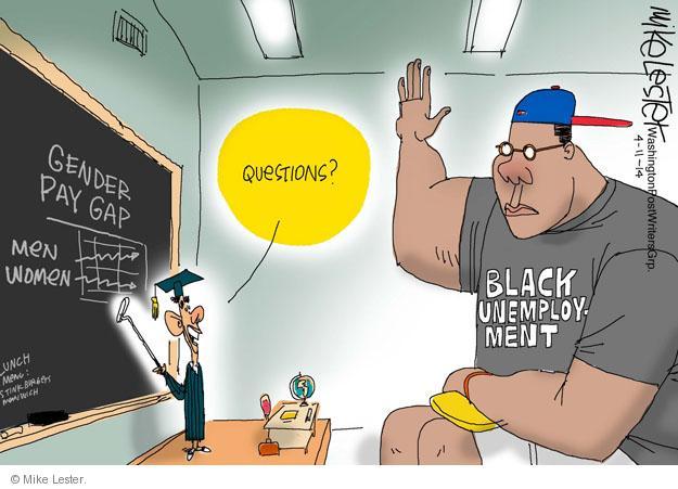 Gender pay gap. Men. Women. Lunch menu. Stinkburgers. Manwich. Questions? Black unemployment.