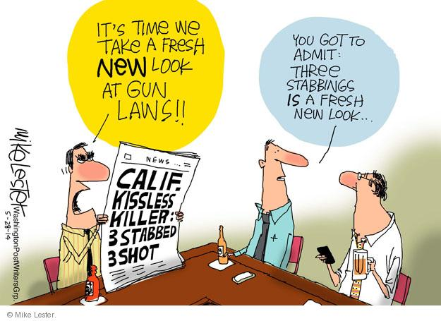 Cartoonist Mike Lester  Mike Lester's Editorial Cartoons 2014-05-28 gun rights
