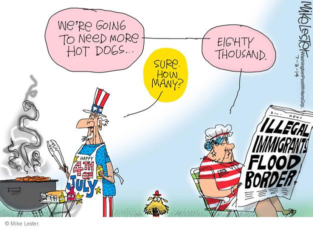 Cartoonist Mike Lester  Mike Lester's Editorial Cartoons 2014-07-03 illegal immigration