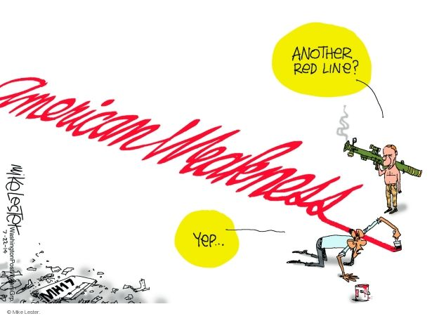 Cartoonist Mike Lester  Mike Lester's Editorial Cartoons 2014-07-22 Obama red line