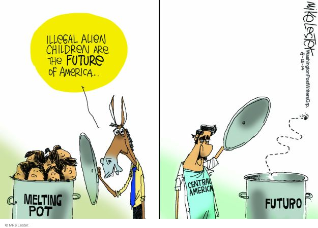 Cartoonist Mike Lester  Mike Lester's Editorial Cartoons 2014-08-12 illegal immigration