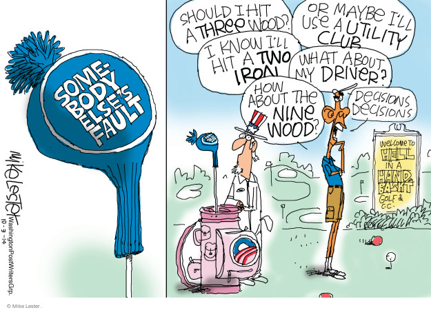 Cartoonist Mike Lester  Mike Lester's Editorial Cartoons 2014-10-03 Obama administration