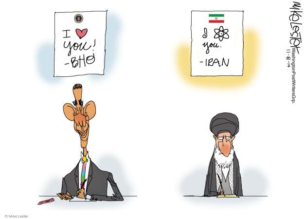 I (heart) you! BHO. I (nuclear power symbol) you. - Iran.