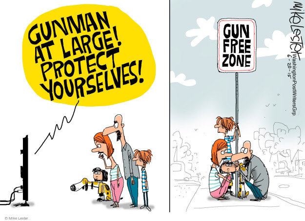Cartoonist Mike Lester  Mike Lester's Editorial Cartoons 2015-06-20 gun rights