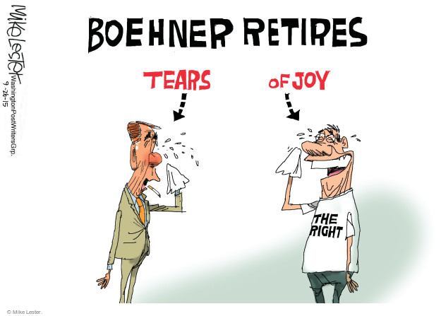 Boehner Retires.  Tears.  Of joy.  The right.