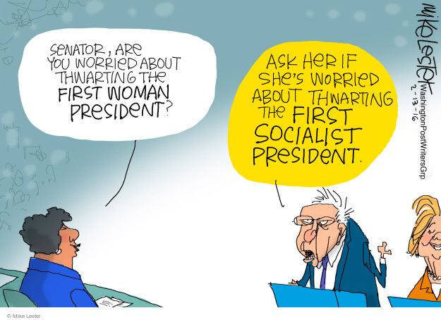 Mike Lester  Mike Lester's Editorial Cartoons 2016-02-13 Bernie Sanders