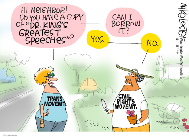 """Hi neighbor! Do you have a copy of """"Dr. Kings Greatest Speeches""""? Yes. Can I borrow it? No. Trans movemt. Civil rights movemt."""