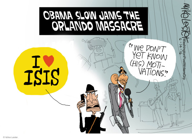 Cartoonist Mike Lester  Mike Lester's Editorial Cartoons 2016-06-14 mass shooting