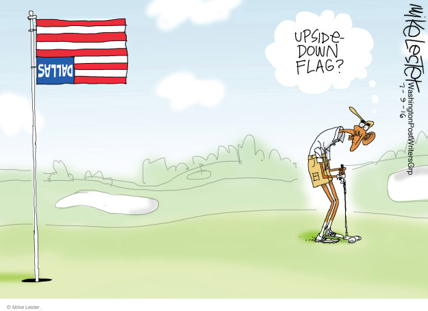 Upside-down flag? Dallas.