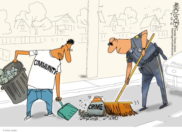 Cartoonist Mike Lester  Mike Lester's Editorial Cartoons 2016-07-17 police
