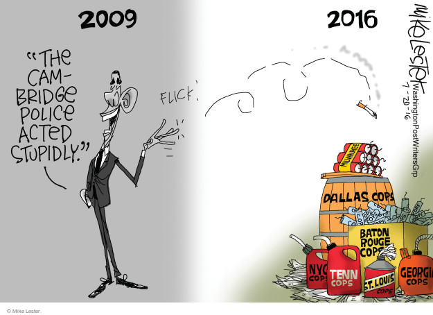 Cartoonist Mike Lester  Mike Lester's Editorial Cartoons 2016-07-20 police