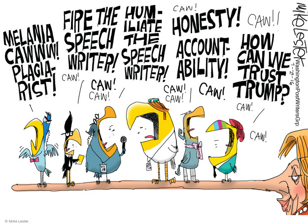 Cartoonist Mike Lester  Mike Lester's Editorial Cartoons 2016-07-21 speech