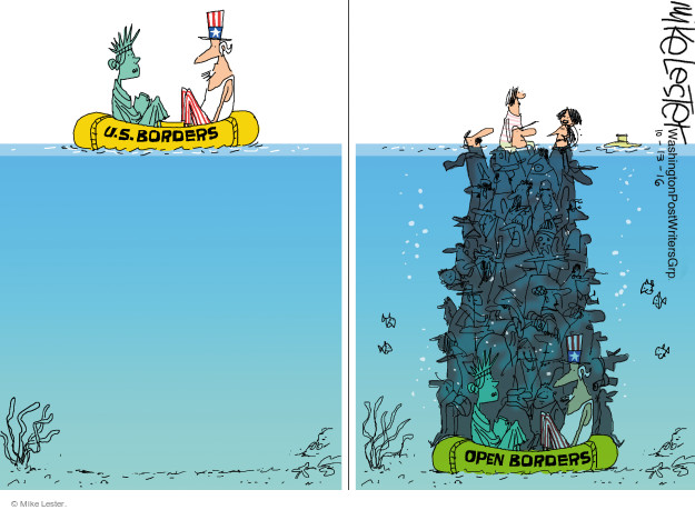 Cartoonist Mike Lester  Mike Lester's Editorial Cartoons 2016-10-13 open border