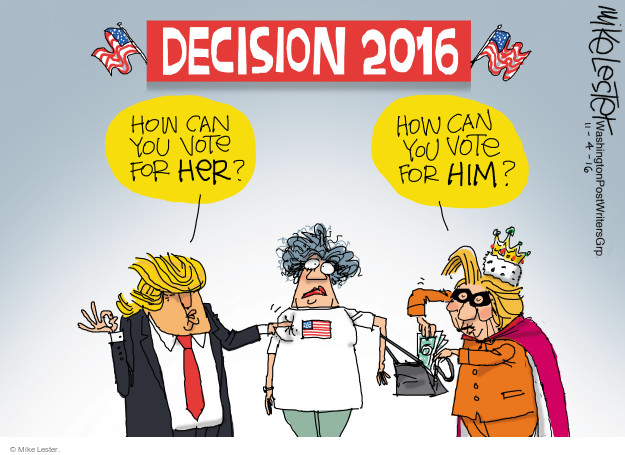 Cartoonist Mike Lester  Mike Lester's Editorial Cartoons 2016-11-04 candidates republicans