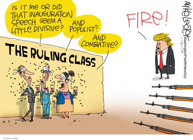 Cartoonist Mike Lester  Mike Lester's Editorial Cartoons 2017-01-21 speech