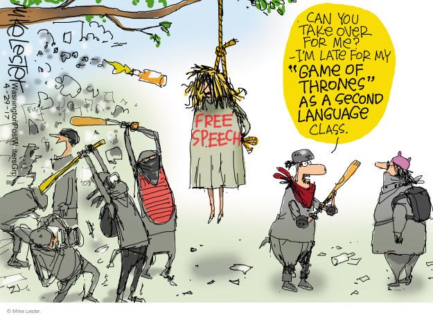 Cartoonist Mike Lester  Mike Lester's Editorial Cartoons 2017-04-29 speech