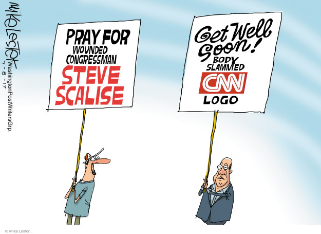 Pray for wounded Congressman Steve Scalise. Get well soon! Body slammed CNN logo.