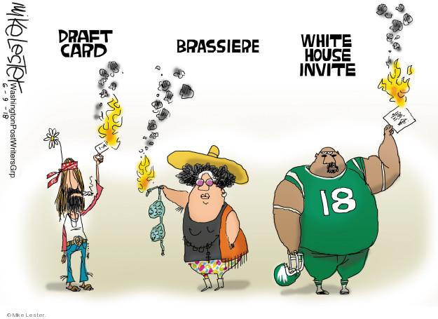 Draft card. Brassiere. White House invite.