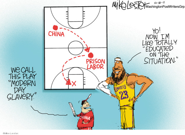 China. Prison labor. We call this play Modern Day Slavery. Yo! Now Im like totally educated on the situation. Lakers 23. China.