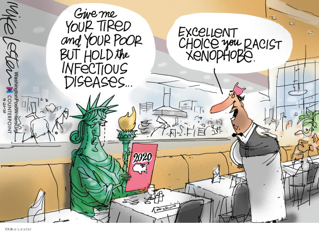 Cartoonist Mike Lester  Mike Lester's Editorial Cartoons 2020-03-20 immigration