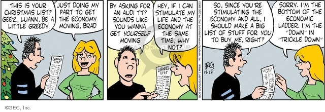 Comic Strip Greg Evans  Luann 2008-12-22 financial crisis